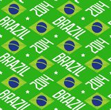 Seamless pattern Brazil 2014. Seamless pattern with Brazilian flag and word Brazil 2014. Vector eps8 Royalty Free Stock Image