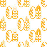 Seamless pattern of bread and bakery symbol. Seamless background pattern of repeat French baguette with an ear of ripe yellow wheat on white background in square vector illustration