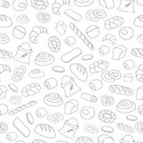 Seamless Pattern with Bread. Seamless Pattern with Bread outline icons. Hand Drawn Stock Image