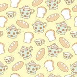 Seamless pattern of bread and tea background. Vector illustration Stock Photos