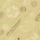 Seamless pattern of breads. Line drawing of breads on cardboard Stock Photography