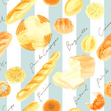 Seamless pattern of breads and stripes. Breads drawn with watercolor paint Royalty Free Stock Photography