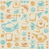 Seamless pattern with breakfast elements. Royalty Free Stock Photo
