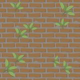 Seamless pattern brick wall orange with cement construction with green leaves clay stones background vector. Seamless pattern brick wall orange with cement Royalty Free Stock Image