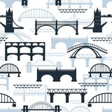 Seamless pattern of bridge silhouettes Royalty Free Stock Photos