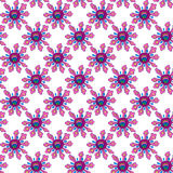 Seamless pattern with bright abstract flowers, hand-drawn. Royalty Free Stock Photography