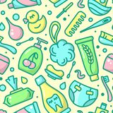 Seamless pattern with bright baby hygiene accessories. Suitable for wallpaper, wrapping or textile stock illustration