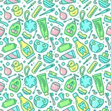 Seamless pattern with bright baby hygiene elements. Suitable for wallpaper, wrapping or textile royalty free illustration