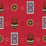 Seamless pattern with bright background. American native indians houseware as navajo pottery and rug, drawn in flat style on red. Seamless pattern with bright Stock Images