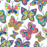 Seamless pattern with bright butterflies on white background. Vector Illustration. Royalty Free Stock Images