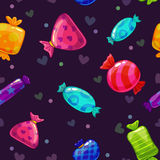 Seamless pattern with bright cartoon candies Royalty Free Stock Photography
