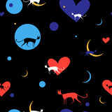 The seamless pattern with bright cats. The vector seamless pattern. EPS 8 Stock Photography