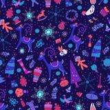 Seamless pattern of bright Christmas items. Royalty Free Stock Photos
