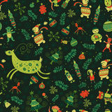 Seamless pattern of bright Christmas items. Christmas pattern - varied Xmas trees and fir tree Stock Photos