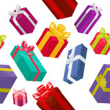 Seamless pattern with bright color gift. Boxes Stock Photography