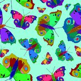 Illustration of colorful butterflies on a nice color background. royalty free illustration
