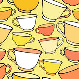 Seamless pattern with bright colorful cups Royalty Free Stock Photos