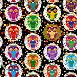 Seamless pattern bright colorful cute owls on black background, funny birds face with winking eye, bright colors. Vector. Illustration Royalty Free Stock Images