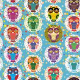 Seamless pattern bright colorful cute owls on blue background, funny birds face with winking eye, bright colors. Vector. Illustration Royalty Free Stock Photography