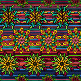 Seamless pattern with bright colorful drawn mandala flowers Stock Photos