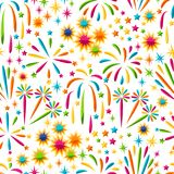 Seamless pattern with bright colorful fireworks and salute.  Stock Image