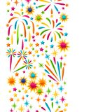 Seamless pattern with bright colorful fireworks and salute.  Stock Photo
