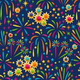Seamless pattern with bright colorful fireworks and salute.  Royalty Free Stock Photos