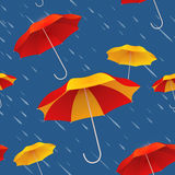 Seamless pattern with bright colorful umbrellas and rain. Autumn background. Vector illustration Royalty Free Stock Photos