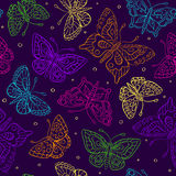 Seamless pattern with bright contour butterflies Royalty Free Stock Photo