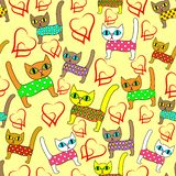 Seamless pattern. Bright cute kittens and loving hearts. Suitable as wallpaper in the children`s room, like packaging for a gift royalty free illustration