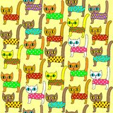 Seamless pattern. Bright cute kittens. Suitable as wallpaper in the children`s room, as a gift wrapping for children and adults. vector illustration