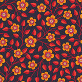 Seamless pattern with bright decorative flowers Royalty Free Stock Photo