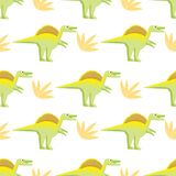 Seamless pattern with bright dinosaurs stock illustration