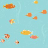 Seamless pattern with bright fish Stock Photography