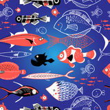 Seamless pattern of bright fish. On a blue background Stock Image