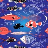 Seamless pattern of bright fish Stock Image