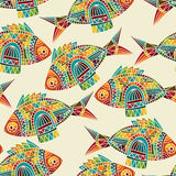 Seamless  pattern with bright  fishes Royalty Free Stock Photos