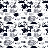 Seamless pattern with bright fishes. Outlne doodle art vector illustration