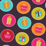 Seamless pattern with bright gift boxes.  Stock Photography