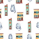 Seamless pattern with bright hand painted watercolor cute cats a. Nd houses. Cute decorative background perfect for gretting gift paper, nursery design or fabric royalty free illustration