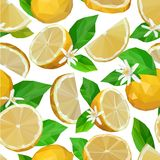 Seamless pattern of bright lemons, leaves and low poly flowers vector illustration