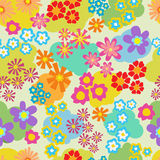 Seamless pattern with bright multicolored flowers. Seamless pattern with bright multicolored garden flowers Royalty Free Stock Images