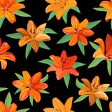 Seamless pattern of bright orange and yellow lilies with green leaves on black background stock illustration