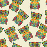 Seamless Pattern with Bright Owls Royalty Free Stock Photography