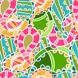 Seamless pattern with bright paisley Stock Photos