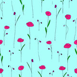 Seamless pattern with bright pink flowers. Blue background with stylized doodle roses. Stock Photos