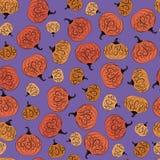 Seamless pattern bright pumpkin. Seamless bright pattern with ripe pumpkins with abstract patterns for Halloween, harvest festival, vector illustration Stock Images
