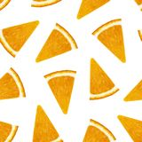 Seamless pattern. Bright, ripe, tasty, healthy, orange. Triangular pulp of the inside of a round fruit in the peel of an orange Stock Photos