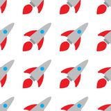 Seamless pattern. bright rockets on white background. Children`s illustration. The design is ideal for printing on vector illustration