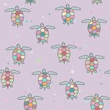 Seamless pattern with bright sea turtles. Vector illustration. royalty free stock images